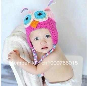 Owl Pink Hat Bird Baby Handmade Crochet Knitting Beanie Beret Cap Head Cute Hat Gift