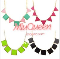 Sweet candy color black triangle square necklace fashion geometric patterns  graphic