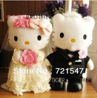 Hello kitty wedding toy a couple,PP cotton, short plush ,hight 25cm