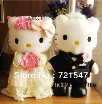 Hello kitty wedding toy a couple,PP cotton, short plush ,hight 25cm