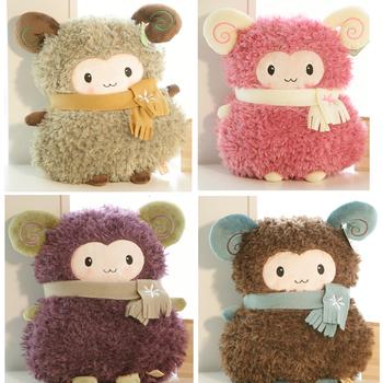 Sheep hand warmer pillow scarf wool fabric toy small sheep cushion doll birthday gift