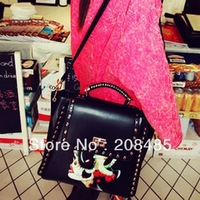 Free Ship! Wholesale Shoulder Bag Women 2013 Tote Bag Studs For Women Quality Rivet Motorcycle Bag Black with Printing Vintage