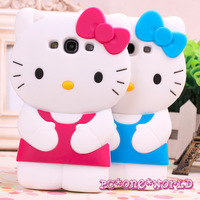 New Arrival! Free Shipping! 3D Hello Kitty Cute TPU Soft Silicone Back Case Cover Skin for Samsung Galaxy S3 i9300 MOQ 1pcs