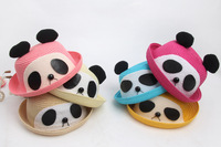 The children cute pandas and straw hat three-dimensional cartoon curling cap baby hat