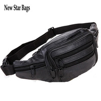 New Star Bags Vintage genuine leather cowhide men waist sports bags Tactical outdoor travle belt wallets Brown Black GTS176