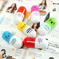 Wholesale colorful Cartoon pill shape Moving Pen Ballpoint Pen vitamin pen gift pen promotional pens with free print logo