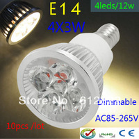 Factory directly sale 10pcs/lot CREE Bulb led bulb E14 12w 4x3W 85-265V Dimmable led Light led lamp spotlight free shipping