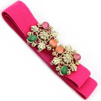 Fashion all-match multi-colored gem elastic women's elastic waist belt thin belt female