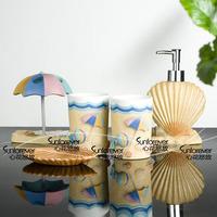 Stylish 5 piece set OCEAN Beach bathroom washroom suite cup brush soap holder Simple Modern Clean design FREE SHIPPING