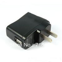 free shipping 5pic/lot US Plug USB AC 110/220/240V Power Supply Wall Charger Adapter Mobile Telephone MP3 MP4 DV Charger Black