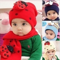 Min order $10, retail free shipping Baby ladybug hat and scarf set ladybird DR.Cotton CAP HATS Beetle sets baby caps Winter hat