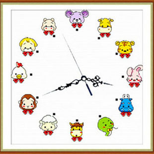 Kaka print cross stitch big picture clock zodiac cross stitch series(China (Mainland))
