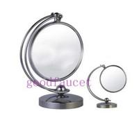 Hot Sale Wholesale And Retail  Deck Mounted 3X 1X Cordless Vanity MakeUp Mirror Desktop Double 360 Swivel Bathroom Mirror