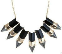 Fashion accessories metal gold plated tassel quality three-color spike necklace 12  Free shipping