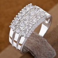 R143 Wholesale 925 silver ring, 925 silver fashion jewelry,  Austrian Crystal   Inlaid Blue Stone Ring Finger, Ring
