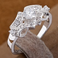 R146 Wholesale 925 silver ring, 925 silver fashion jewelry,  Austrian Crystal   Inlaid Blue Stone Ring Finger, Ring