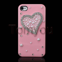Hot Sale New Cute Pink Case Cover Hard For Apple iPhone 4G 4S Beauty Love Heart Pearl Bling Free Shipping
