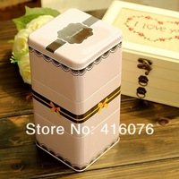 Free Shipping! Square Shape Bowknot Lace Design Cosmetic Box Comination Metal Tea Canister Storage Box Candy Can Hot T1034