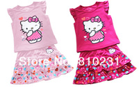 2013 New designs Hello kitty Girl&#39;s clothing set Short T-shirt and Peach heart lace skirt suit,kids summer wear Free Shipping