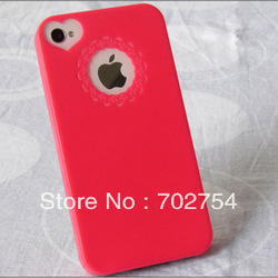 Elegant &New Fashion Cute Color Sweet Heart Case Cover Skin For Apple iphone 4 4G 4S TH PK Free shipping&Wholesale(China (Mainland))