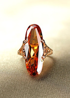 Fashion vintage yellow crystal ring accessories female