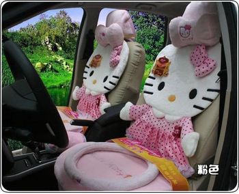 The new-12pcs- hello Kitty car seat cushion cute plush cushions-Rose red COLOR-TOP QUALITY