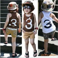 Free shpping 5 sets/lot kids' fashion casual vest suit,white and coffee vest+pants,children's summer suit