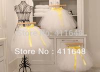 NEW Womens Gauze Tulle Balley Pincess TUTU Skirt White+Yellow Belt Black+Fusia Belt Free Shipping Wholesale & Retail