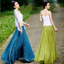 Free shiping Hot sale 2013 Fashion summer women high quality chiffon multicolor leisure long pleated double slit maxi skirts(China (Mainland))