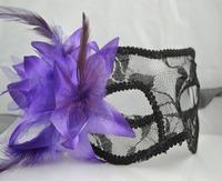5pcs/lot Free shipping sexy lace masks masquerade women halloween mask  party masks venetian mask purple&balck lace mask-05