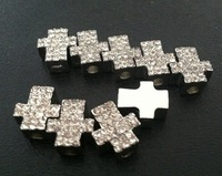 Hot Fashion Rhinestone Sideways Cross Bracelet Connectors Spacers Jewelry Findings 13*11