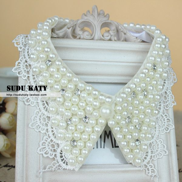 Luxury fashion glass rhinestone pearl flower false collar collar(China (Mainland))