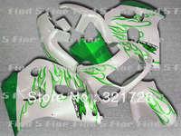 green flame white body for GSXR600 GSXR750 1996 1997 1998 1999 2000 1996-2000 GSXR 600 750 96 97 98 99 00 96-00 ABS fairing kit