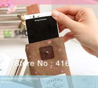 "10pcs/lot Free Shipping Super Cute Canvas Smart Mobile Phone Bags 4 Colors Options ""Simple&Convenient"" Cell Phone Pouch"