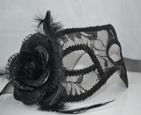 5pcs/lot Free shipping sexy rose lace masks masquerade women halloween mask  party masks venetian mask balck lace mask-07