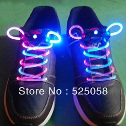 Muti-color Cool LED Flash Lighting Glow Shoelaces Shoe Laces DISCO Party Skating Rainbow(China (Mainland))