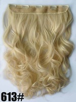 "22"" 100G Silky Wavy Remy Blended hair clip in hair extensions ,blonde #613, 5 clips a set ,free shipping"