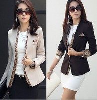 Free Shipping 2013 spring Suit Women's OL style sexy Leopard Print  jacket,One Button V Collar Bussines Coat Blazer coat S M L