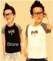 Free Shipping Wholesale - dotey Baby T Shirt 2013 New Boy Bowknot Cotta T Shirt Boys Panther, puma T Shirt Children Summer Wear