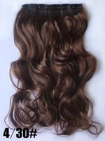 "Nature color, 22"" 100G Silky Wavy Remy Clip in blended human hair extensions #4t30,straight 5 clips a set ,free shipping"