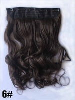 "Nature color #6, 22"" 100G Silky Wavy Remy Clip in blended human hair extensions , 5 clips a set ,free shipping"