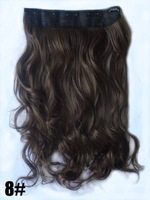 "Nature color #8, 22"" 100G Silky Wavy Remy Clip in blended human hair extensions , 5 clips a set ,free shipping"