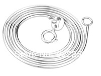 Cheap genuine 925 sterling silver jewelry,40/45CM plated platinum snake necklace pendant chain for women&Girls!