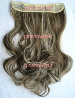 "HOT, 22"" 100G Silky Wavy Remy Clip in 93% human hair extensions mixed color #8/613,5 clips a set ,free shipping"