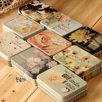 Free shipping 2013 Flower Series Iron Storage box Tin box Cartridge Cute House tin box 9pc/lot