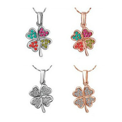 Free Shipping Full Of Rhinestone Clover Female Short Paragraph Pendant Necklace Multicolor Selection Factory Price Wholesale(China (Mainland))