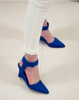 Free Shipping 2013 Summer Designer Women Pumps Pointed Flock/PU Close Toe Wedges High Low Heels Wedding Shoes Black/White/Blue