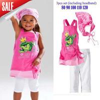 2014 New Summer Girl Frog Baby Beach 3pcs sets ( shirt + pants + headband)  Free shipping In Stock