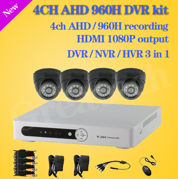 4ch CCTV System 480TVL IR Dome Cameras 4ch Full D1 DVR Recorder, Mobile Phone, Network Monitoring,dvr 4ch camera,free shipping(China (Mainland))
