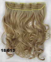 """Mixed color #18/613, 22"""" 100G Silky Wavy Remy Clip in 93% human hair extensions ,5 clips a set ,free shipping"""
